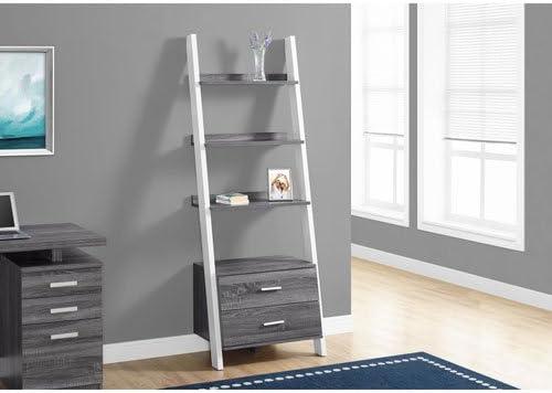 Hawthorne Ave Grey-White Ladder Bookcase with 2 Storage Drawer