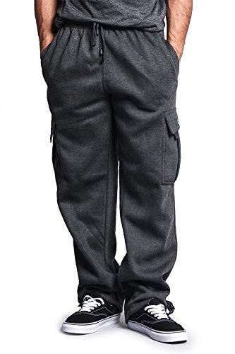 G-Style USA Men's Solid Fleece Cargo Pants DFP2 - Charcoal - 2X-Large