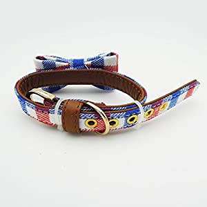 PetFavorites Small Dog Costume Collar - Plaid Bowtie Kitten Bandana Collar for Halloween - Teacup Yorkie Chihuahua Clothes Outfits Accessories, Adjustable & Handmade (Red/Blue Plaid Bow Tie)