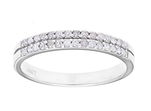 Gemstone Bands Diamond (Instagems 10k White Gold Double-Row Diamond Anniversary Wedding Band Ring (1/4 cttw, I-J Color, I2-I3 Clarity))