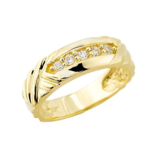 Men's 14k Yellow Gold-Stone Set Diamond Wedding Ring Band (Size 11)