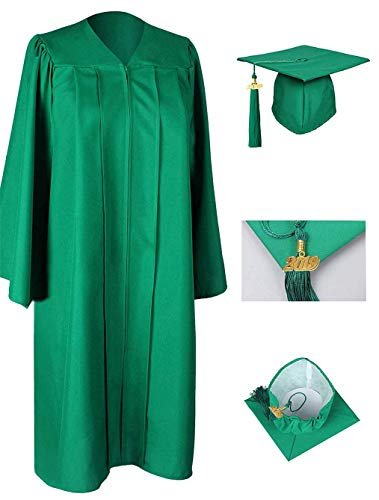 GraduationRoyal Unisex Adult Matte Graduation Gown Cap Tassel with 2019 Year Charm for High School and College Bachelor Green