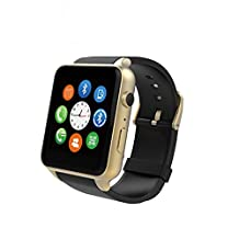 AWOW Bluetooth V4.0 NFC Waterproof Smart Watch Magnetic charging WristWatch Mate Smartwatch Phone with Pedometer 0.3MP Camera SW07 (Gold)