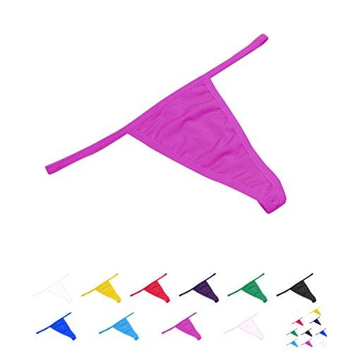 1 / 6pcs Mujeres Bajo Cintura De Color S¨®lido G-String Tongs Sin Costura Underwear Bragas Briefs Rosa roja