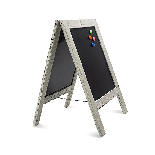 Large, Heavy Duty A-frame Outdoor Sidewalk Chalkboard. Double Sided Freestanding Outdoor Sandwich Board with Nice White Wash Finish. Uses Regular or Liquid Chalk. by 5 Star North