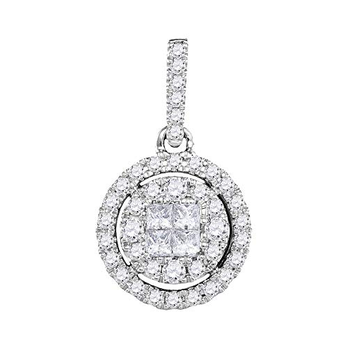 Jawa Jewelers 14kt White Gold Womens Princess Round Diamond Soleil Framed Cluster Pendant 1/2 Cttw