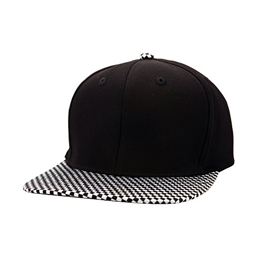 Top Level Snapback Satin Checkered Print Brim Unisex Flatbill Hat - Black/White