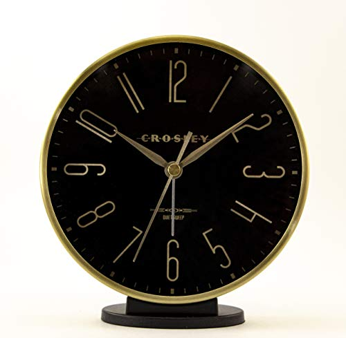 """Timelink Crosley Modern Art Deco Office and Desk Alarm Clock, Gold & Black, Gold - Quiet sweep, non-ticking, movement for minimal distractions Large 5"""" Diameter with Glass Lens, for easy viewing Brushed Aluminum case and Hands, for a stylish and classic look - clocks, bedroom-decor, bedroom - 41jF3uEkvPL -"""