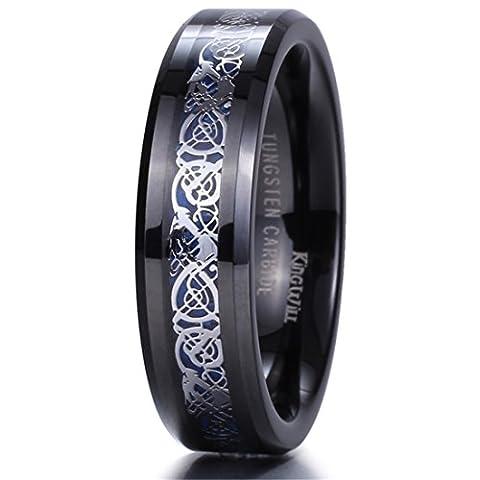 King Will DRAGON 6mm Black Tungsten Carbide Ring Blue Carbon Fiber Silver Celtic Dragon Wedding Band 5.5