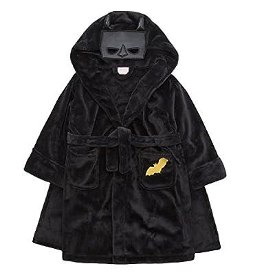 Boys BatBoy Dressing Gown Robe in Soft Plush Flannel Fleece 3-10 Yrs