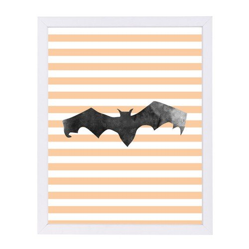 Americanflat Halloween Striped Bat White Frame Print by Jetty Printables 9