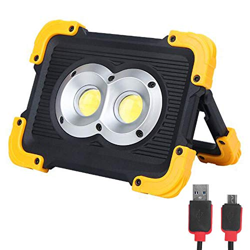 FISHNU Nylon Case Rechargeable LED Work Lights,1800 Lumens Led Flood Light,Built-in Lithium Batteries with USB Port to Charge Mobile Devices(Round Cob)