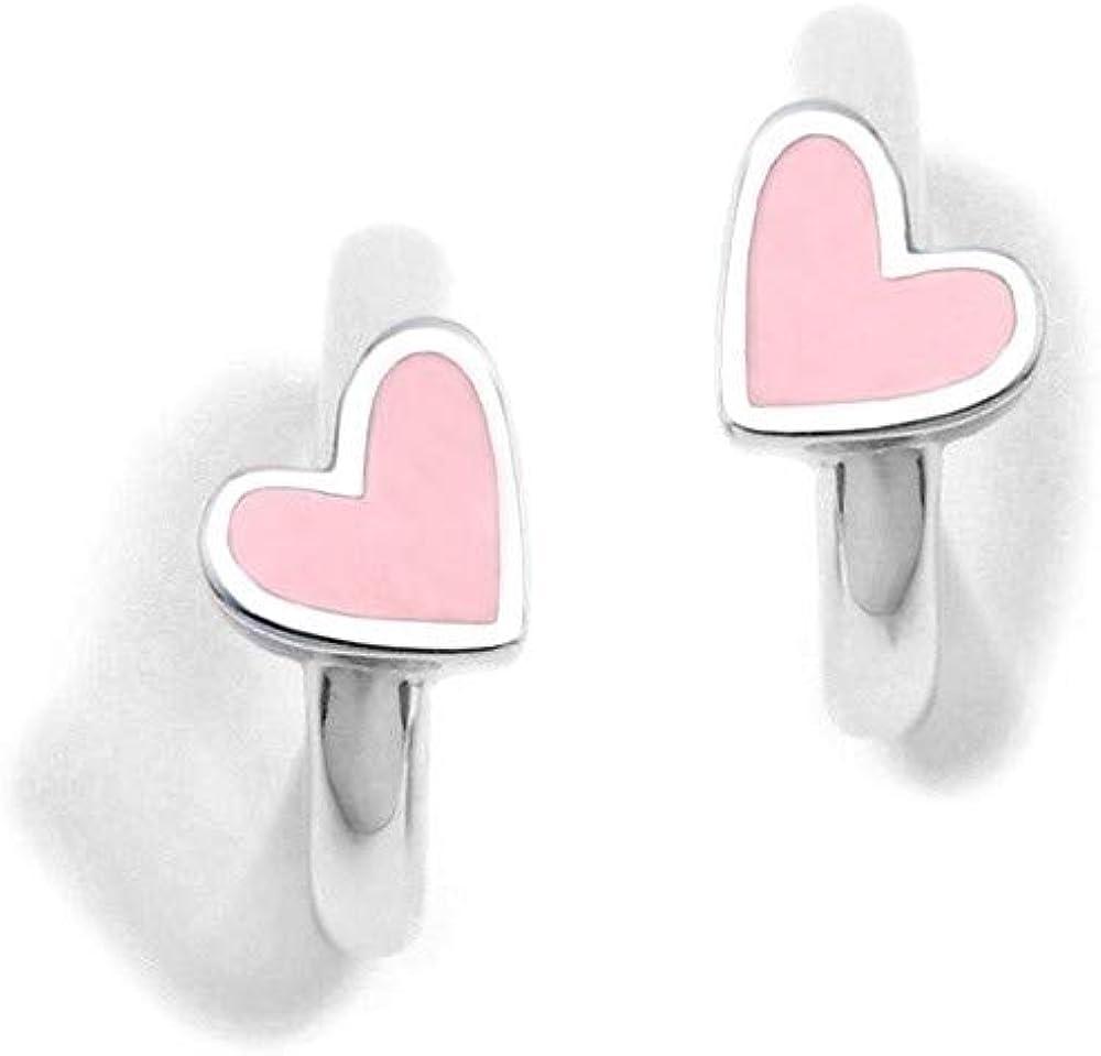 Pendientes plata Ley 925m Agatha Ruiz de la Prada colección Criollas de Agatha aros corazón esmalte