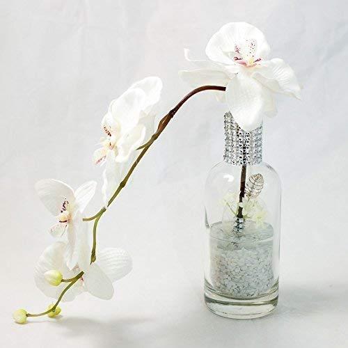 Weisse Orchideen Und Strass Im Glasgefass Tischgesteck Tischdeko Mit
