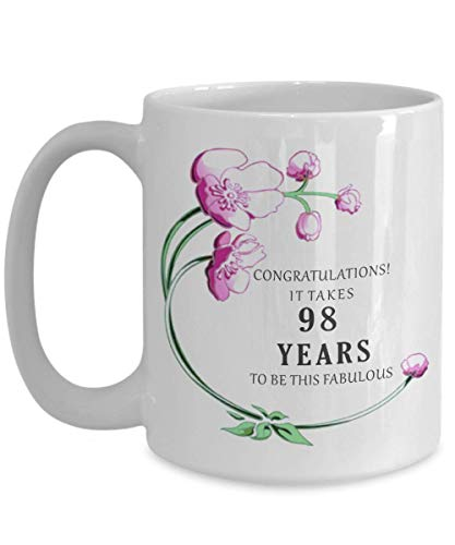 98th Birthday Gift for Women Her Mug 1920 98 th Year Decorations Cake Topper Banner Idea Coffee Tea -