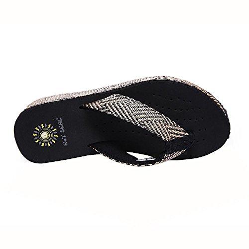 Grace Scarpe Donna PVC Eva Casual Tallone Piano Infradito Pantofole all'aperto Altri Colori Disponibili, Black, 36