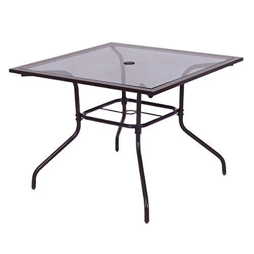 Square Dining Table Deck Patio Yard Garden Outdoor Furniture Glass Top 37 1/2