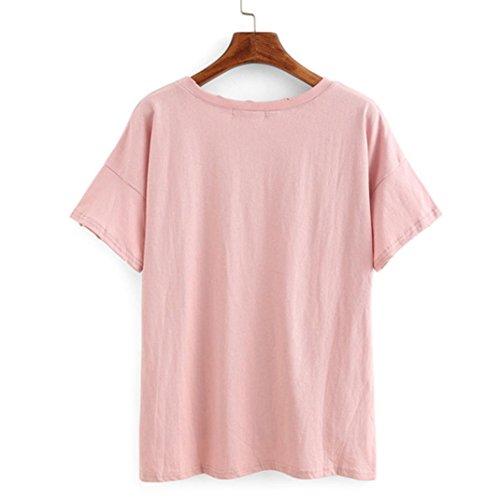 HARRYSTORE Frauen lose kurze Hülsen-Blusen-Löcher Normallack-beiläufiges T-Shirt