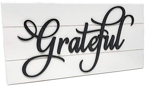 Rustic Farmhouse Grateful Sign room sign for décor Sign White with Black Letters Featuring Raised Letters (Grateful Sign…