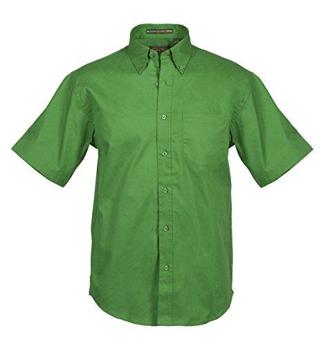 Premium Twill Shirt - Tiger Hill Men's Short Sleeve 100% Cotton Premium Twill Shirt (Large, Kelly Green)