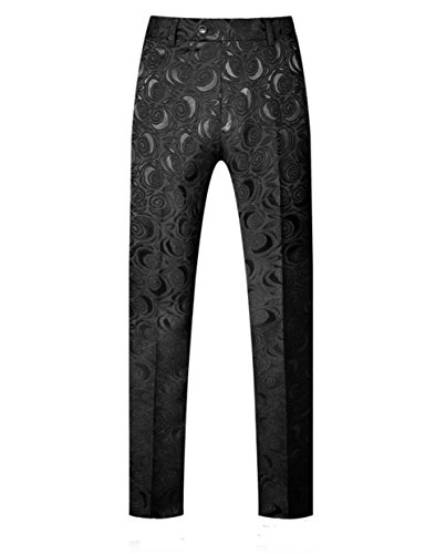 MOGU Men's Skinny Straight-Fit Casual Pants Waist 33 (Label Size 33/XL) Black ()