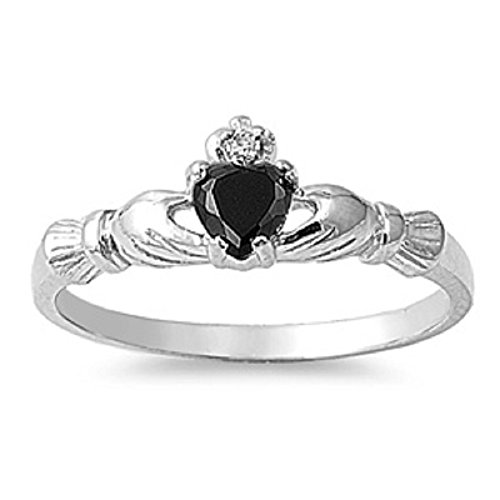 - STERLING SILVER Baby RING W/CZ Faux Onyx Claddagh pinky right hand