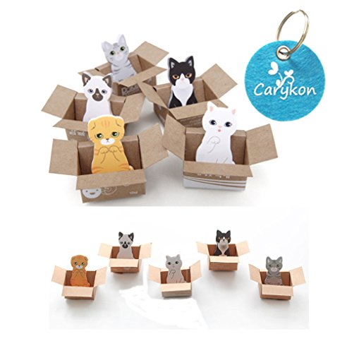 Carykon 5 Designs Cute Cat Cartoon Animal Shaped MINI Sticker Bookmark Page Flags Index Tab Reminder Sticky Notes, 150 Sheets in Total
