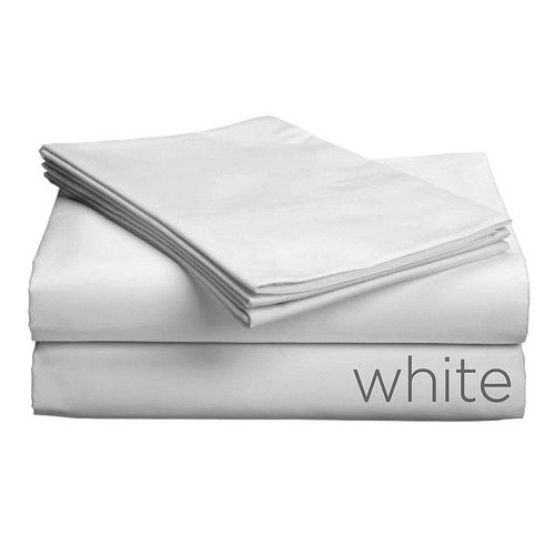 (Gotcha Covered Luxe Collection Split Cal King Size 100 Percent Combed Cotton Sateen 618 Thread Count Bed Sheet Set with Smarty-Bandzz - Deep Profile Up to 18 in. White)