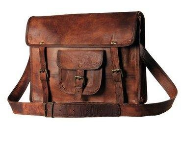 TUZECH Genuine Leather Bag Laptop Vintage Messenger Bag Handmade Unisex Fits Laptop Upto 11 Inches