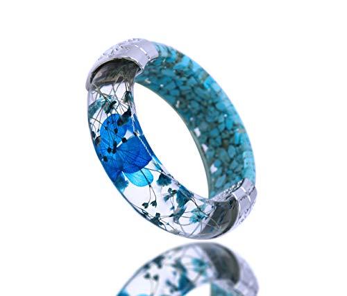 - IDesign Bangle Bracelet for Women Flower Bracelet Wood Bangle Bracelet Risen Bracelet Hinged Bangle Hawaiian Jewelry (Blue)