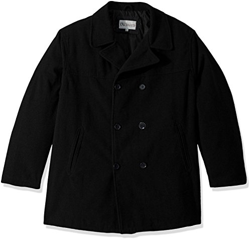 Excelled Men's Big and Tall Polyester Peacoat, Charcoal, 4X