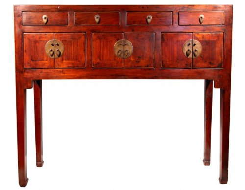 Chinese Table From Northern China - Made of cultivated hardwood - Rich walnut color, this cabinet can be used for storage, a small writing desk or a make up table - 32'' H. by Oriental Furnishings
