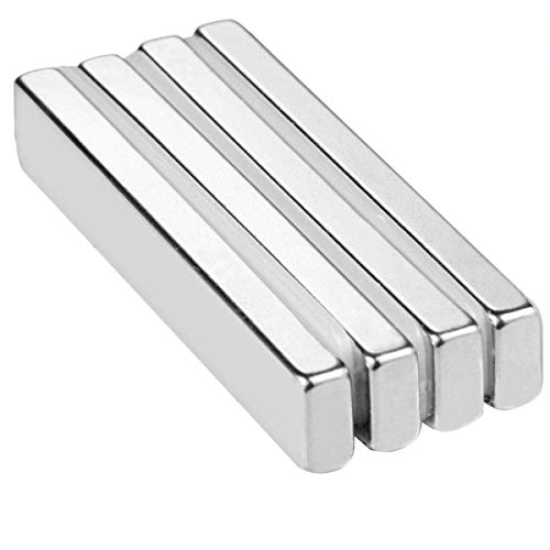 Wukong Rare Earth Neodymium Bar Magnets Powerful Permanent for Fridge, DIY, Building, Scientific, Craft, and Office Magnets, 60 X 10 X 5MM - Pack of 4.