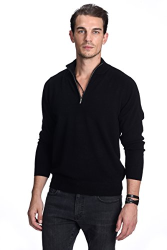 State Cashmere Men's 100% Pure Cashmere Pullover Half Zip Mock Neck Sweater (Large, - 100% Cashmere Sweater Black