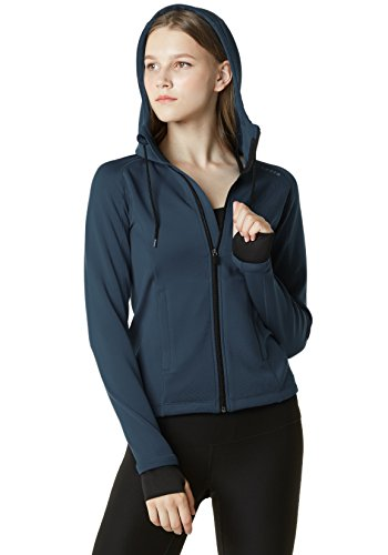 TM-FKJ02-NVY_Small Tesla Women's Lightweight Active Performance Full-zip Hoodie Jacket FKJ02