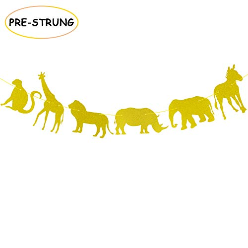 Gold Glitter Jungle Safari Animal Banner Zoo Themed Baby Shower Kids Birthday Party Supplies Decorations -