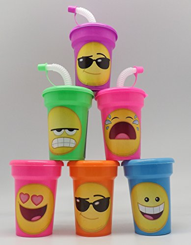 Emoji Cups 6 pack Sipper Favor Cups Birthday Party Supplies by ONE STOP