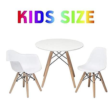 Buschman Muebles para Niños | Conjunto de Mesa y Sillas | 2 Asientos de Plástico sin y con Brazos y 1 Mesa Redonda de MDF | Estilo Moderno, ...