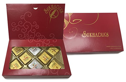 Sukhadia's Indian Sweets, Assorted Dry Fruit Mewa Bites in Elegant Red Box, 8oz