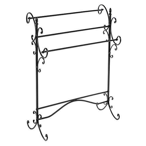 Portable Quilt Display Stand, Free-Standing Contemporary Rustic Wrought Iron Scroll Quilt Rack & E-Book by Portable