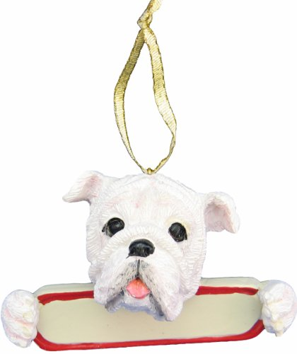 E&S Pets Bulldog Ornament White Santa's Pals with Personalized Name Plate A Great Gift for Bulldog Lovers Bulldog White Christmas Ornament
