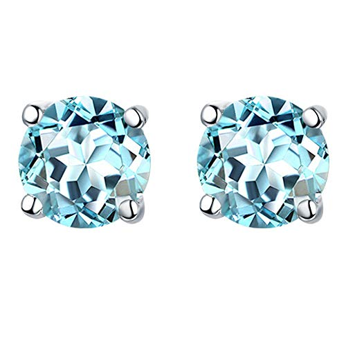 6MM Round Aquamarine Stud Earrings of 18K White Gold Plated with Gemstone Jewelry for Women and Girls (Sky Blue) - Gemstone White Gold Jewelry Box