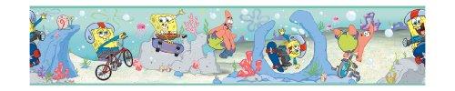 [York Wallcoverings ZB3248BD Sponge Bob Border, Soft Aqua/Sky Blue/Yellow/Red/Salmon Orange/Purple] (Spongebob Wall Border)