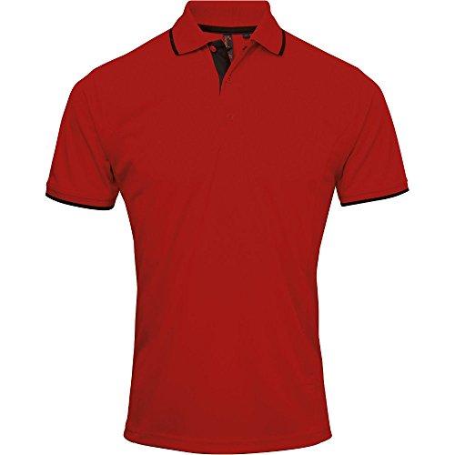 Premier Mens Coolchecker Contrast Trim Corporate Workwear Polo Shirt Red / Black