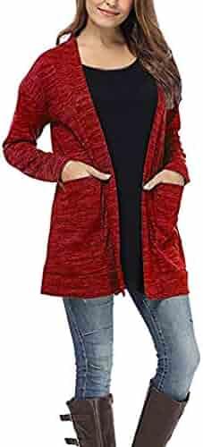 AOJIAN Women Jacket Long Sleeve Outwear Solid Pockets Tops Sweaters Cardigan Coat
