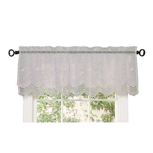 Commonwealth Home Fashions Hathaway Double Scalloped Valance, White, 54 x 17
