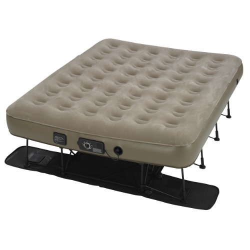 Insta-Bed Ez Queen Raised Air Mattress with NeverFlat - Tan (Raised Bed Base)