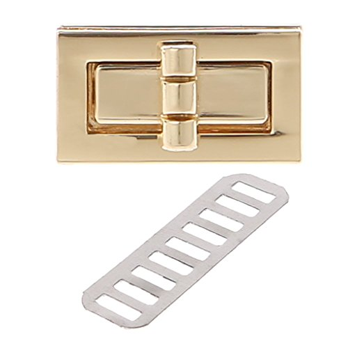 - ULKEME 1PCS Rectangle Shape Clasp Turn Lock Twist Locks DIY Leather Handbag Bag Hardware (Gold)