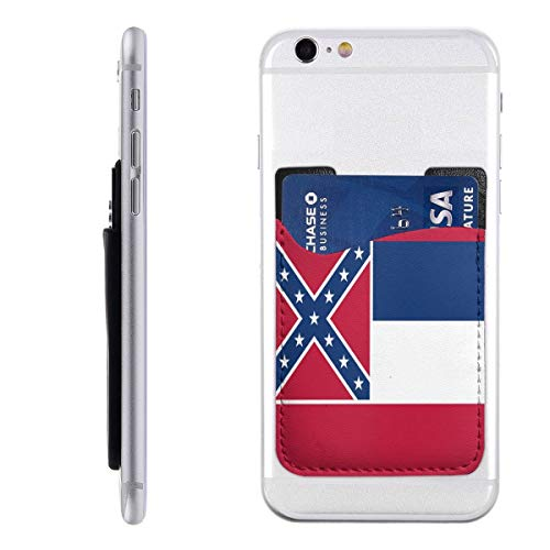 Mississippi Phone Card Holder for Back of Phone, Stretchy Wallet Stick On Pocket Credit Card ID Case Pouch Compatible with All Smartphones - Mississippi Credit Card