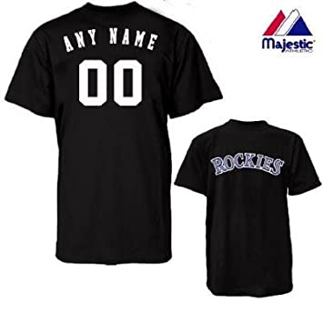 brand new ee9e0 72c7d Majestic Athletic Colorado Rockies Personalized Custom (Add Name & Number)  100% Cotton T-Shirt Replica Major League Baseball Jersey